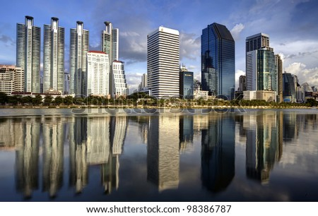 Bangkok city town and the water park, Thailand. - stock photo