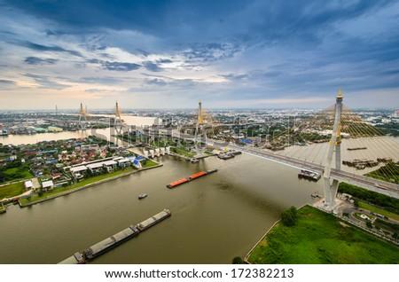 Bangkok city view from above, Thailand. (Bhumibol Bridge) - stock photo