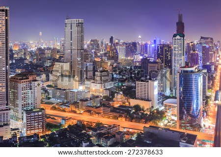 Bangkok cityscape at night, view from high building - stock photo