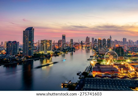 Bangkok cityscape. Bangkok night view in the business district. at twilight - stock photo