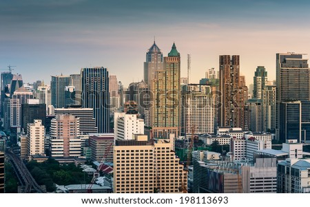 Bangkok Cityscape, Business district with high building at sunset (Bangkok, Thailand)  - stock photo
