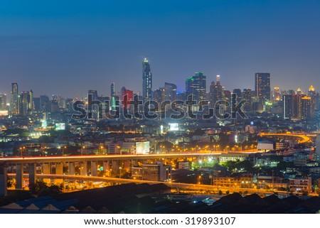 Bangkok Cityscape, business district with high building at sunset , Bangkok, Thailand - stock photo