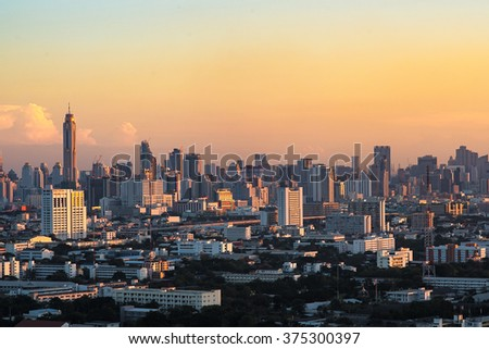 Bangkok Cityscape, downtown with hotel, condominium and high rise building,Thailand. Bangkok is the most populated city in Southeast Asia with one sixth of population live and visit Bangkok every day - stock photo