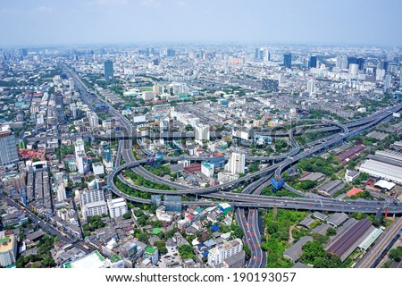 Bangkok Cityscape Expressway and Highway top view. Aerial view on Panorama of Bangkok, Thailand - stock photo