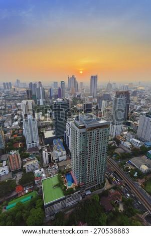 Bangkok cityscape night view - stock photo