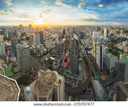 Bangkok cityscape sunset - stock photo
