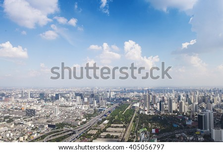 Bangkok cityscape. View of the city from the tallest building in Thailand, Baiyoke Tower  - stock photo