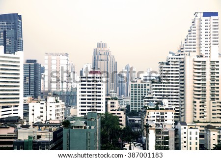 Bangkok cityscape with different skyscrapers and apartment houses. - stock photo