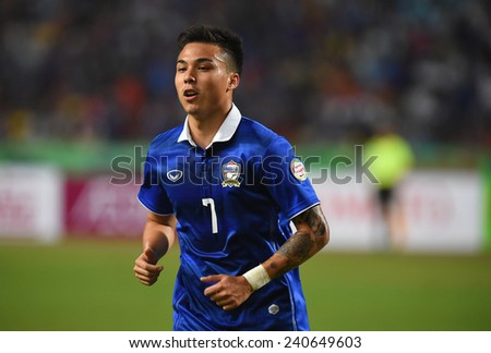 BANGKOK, DEC10:Charyl Chappuis(7) of Thailand in action during the competition 2014 AFF Suzuki Cup between Thailand and Philippines at Rajamangala stadium on December 10, 2014 in Bangkok, Thailand.  - stock photo