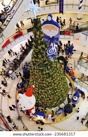 BANGKOK - DEC 27: View of a large Christmas tree at CentralWorld shopping mall on Dec 27, 2011 in Bangkok, Thailand. CentralWorld is the world's sixth largest shopping covering over 550,000 sqm. - stock photo