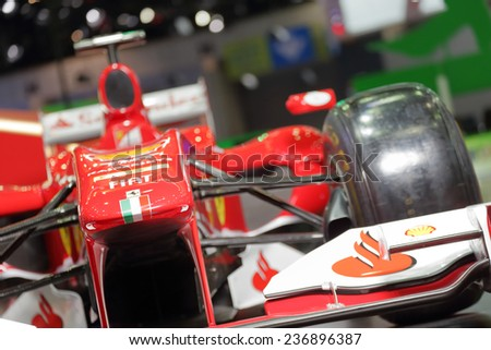 BANGKOK - DECEMBER 9 : Ferrari-Shell Formula 1 displayed on stage in Motor Expo 2014, on dec. 9, 2014 in Bangkok, Thailand. - stock photo