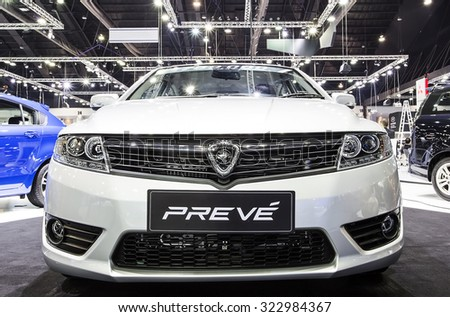 Bangkok - December 28 : front grill of Proton  series Preve - in display at Thailand international motor expo 2014 on December 28, 2014 in Bangkok Thailand  - stock photo