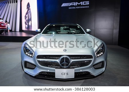 BANGKOK - December 11, 2015 : Mercedes-Benz GTS car on display at Thailand International Motor Expo 2015, exhibition of vehicles for sale on December 11, 2015 in Bangkok, Thailand. - stock photo