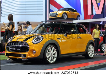 BANGKOK - DECEMBER 9 : Mini Hatch 3-door displayed in Motor Expo 2014, on dec. 9, 2014 in Bangkok, Thailand. - stock photo