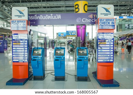 BANGKOK-DECEMBER 16:Self service check-in machine in Suvarnabhumi Airport on December 16, 2013 in Bangkok ,Thailand.This airport is handling about 45 million passengers annually. - stock photo