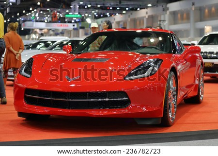 BANGKOK - DECEMBER 9 : Status of red Corvette stingray by BRG Group displayed in Motor Expo 2014, on dec. 9, 2014 in Bangkok, Thailand. - stock photo