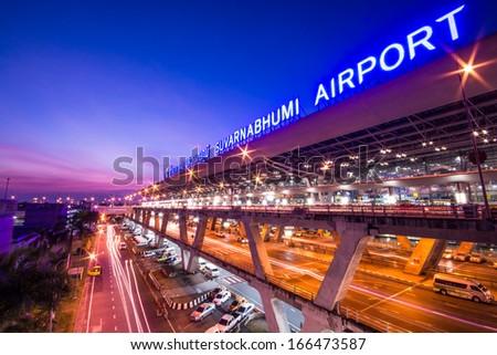 BANGKOK-DECEMBER 02: Suvarnabhumi Airport at night on December 02, 2013 in Bangkok ,Thailand. This airport is the world's third largest single building airport terminal designed by Helmut Jahn. - stock photo