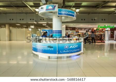 BANGKOK -DECEMBER 22:The AOT limousine desk at terminal of  Suvarnabhumi International Airport on December 22, 2013 in Bangkok, Thailand.This airport is handling about 45 million passengers annually. - stock photo