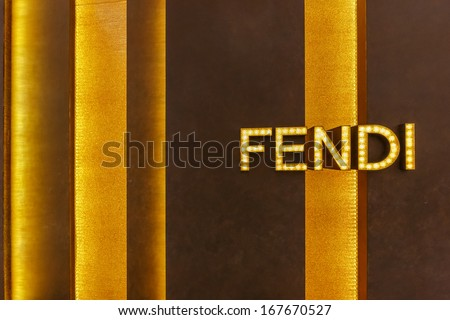 BANGKOK - DECEMBER 5: The sign of FENDI at FIDI store on Dec 5, 2013 in Siam Paragon Bangkok, Thailand. It is a multinational luxury goods brand owned by LVMH Moet Hennessy Louis Vuitton. - stock photo