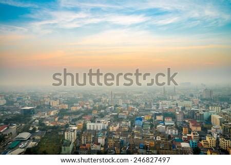 Bangkok downtown city in morning, Thailand - stock photo
