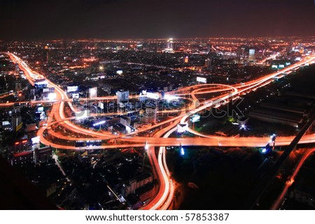Bangkok Expressway and Highway top view at dusk, Thailand - stock photo