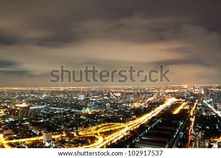 Bangkok Expressway and Highway top view , Thailand - stock photo