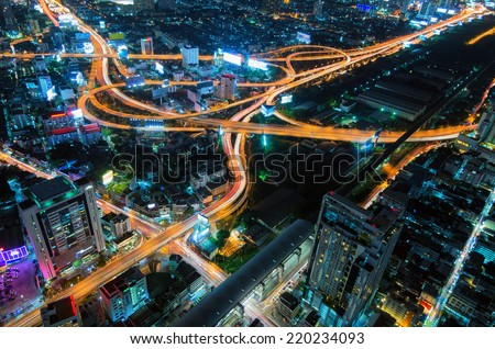 Bangkok Expressway and Highway top view, Thailand at night. - stock photo
