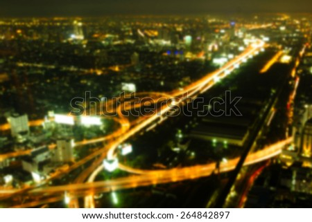 Bangkok Expressway and Highway top view, Thailand, Blurred background - stock photo