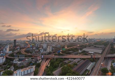 Bangkok expressway , freeway and motorway , an important infrastructures in Bangkok at night , Thailand - stock photo