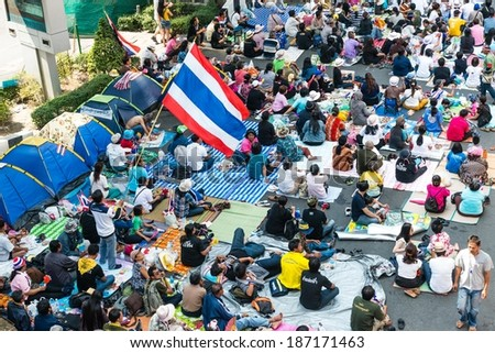 BANGKOK - FEBRUARY 2: Large crowd of Thailand's protest against the government at central Bangkok on February 2, 2014 in Bangkok, Thailand. - stock photo