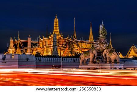 Bangkok Grand Palace, Wat Phra Kaew, at night - stock photo