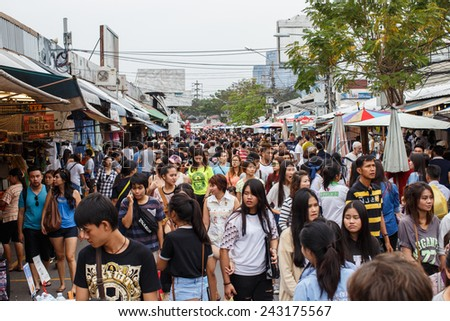 BANGKOK - JAN 11:Jatujak market,the famous weekend market on Jan 11, 2015 in Bangkok,Thailandis one of the destination of foreigners Only open Saturdays and Sundays  - stock photo
