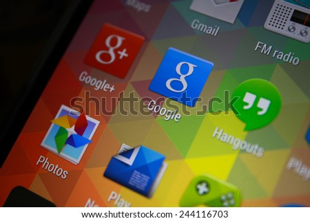 BANGKOK-JANUARY11 2015: Google Icon on Phone.  Google is a United States-headquartered, multinational corporation specializing in Internet-related services and products - stock photo