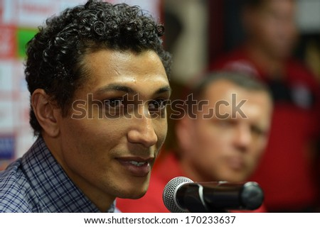 BANGKOK - JANUARY 8: Jay Bothroyd footballer from England speaking during opening the new player of Muangthong United at SCG Stadium on January 8, 2014 in Bangkok.  - stock photo