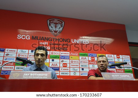 BANGKOK - JANUARY 8: Jay Bothroyd footballer (L) from England and Scott Cooper (R) during opening the new player of Muangthong United at SCG Stadium on January 8, 2014 in Bangkok.  - stock photo