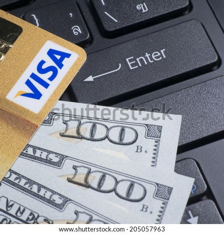 BANGKOK - JUL 14, 2014 : Photo of VISA credit card. VISA is an American multinational financial services corporation - stock photo