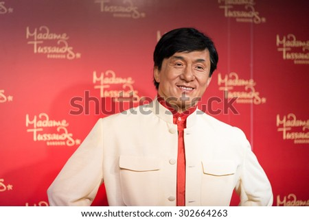 BANGKOK -JULY 22: A waxwork of Jackie Chan on display at Madame Tussauds on July 22, 2015 in Bangkok, Thailand. Madame Tussauds' newest branch hosts waxworks of numerous stars and celebrities - stock photo