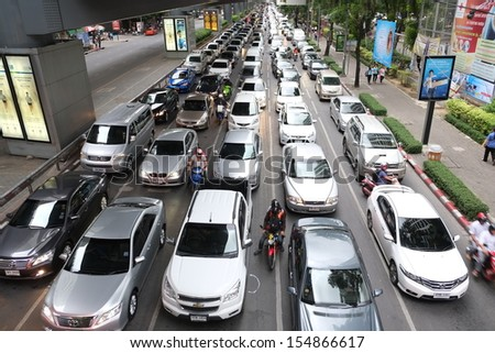 BANGKOK-JULY 27:The traffic jam  on July 27,2013 in Bangkok Thailand. After a 10% rise last year in the number of vehicles on its roads, traffic congestion in Bangkok is getting worse. - stock photo