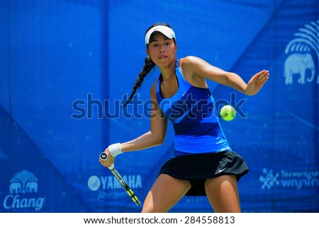 BANGKOK, JUNE 4 : Lizette Cabera (Australia) action in Chang ITF Pro Circuit International Tennis Federation 2015 at Rama Gardens Hotel on June 4, 2015 in Bangkok, Thailand. - stock photo