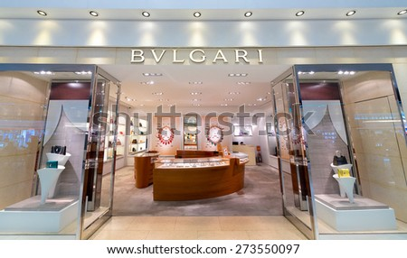 BANGKOK - MARCH 18; 2015: A Bulgari boutiqie at the Suvarnabhumi Airport. Bulgari is an Italian luxury goods brand that produces jewelry, watches, fragrances, accessories, and hotels. - stock photo