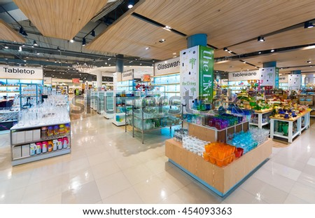 BANGKOK - MARCH 17, 2016: A wide range of glassware at the Living store in the Siam Paragon Mall. It is one of the biggest shopping centres in Asia. - stock photo