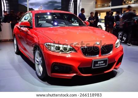 BANGKOK - March 26 : BMW 220i Coupe on DisPlay at 36th Bangkok International Motor Show on March 26, 2015 in Bangkok, Thailand. - stock photo