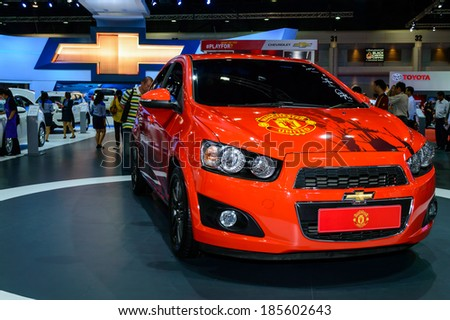 BANGKOK - MARCH 27 : Chevrolet Cruze Manchester United Edition at The 35th Bangkok International Motor Show - [Beauty in the Drive] on March 27, 2014 in Bangkok, Thailand. - stock photo