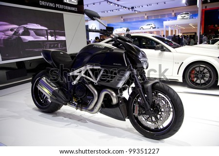 BANGKOK - MARCH 31 : Ducati Diavel Carbon on display in Challenger Hall, Impact Muangthong Thani, the 33 rd Bangkok International Motorshow in Bangkok, Thailand on March 31, 2012. - stock photo