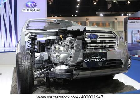 Bangkok - March 31 : Engine of Subaru legacy outback on gray car at The 37th Bangkok International Thailand Motor Show 2016 on March 26, 2016 in Bangkok, Thailand - stock photo