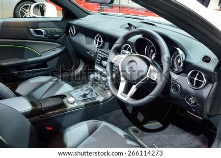 BANGKOK - March 26 : Interior design of Mercedes Benz SLK 200 Carbon Look on DisPlay at 36th Bangkok International Motor Show on March 26, 2015 in Bangkok, Thailand. - stock photo