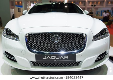 BANGKOK - MARCH 25 : Jaguar XJ on display at The 35th Bangkok International Motor Show on March 25, 2014 in Nonthaburi, Thailand. - stock photo