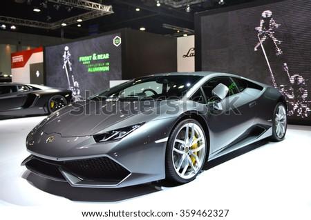 "BANGKOK - MARCH 24 : Lamborghini Aventador on display at The 36th Bangkok International Motor Show ""Art of Auto"" on March 24, 2015 in Bangkok, Thailand. - stock photo"