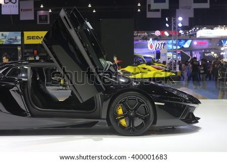 Bangkok - March 31 : Lamborghini huracan on black car at The 37th Bangkok International Thailand Motor Show 2016 on March 26, 2016 in Bangkok, Thailand - stock photo