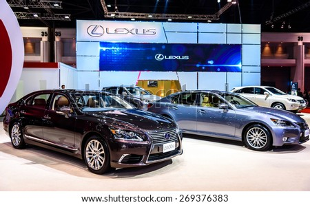 "BANGKOK - MARCH 24 : Lexus booth at The 36th Bangkok International Motor Show ""Art of Auto"" on March 24, 2015 in Bangkok, Thailand. - stock photo"